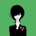 Beautiful brunette girl dressed in black portrait. Vector stock illustration.