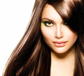 Beautiful brunette girl healthy long brown hair Royalty Free Stock Photography