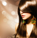 Beautiful brunette girl healthy long brown hair Royalty Free Stock Photos