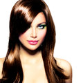 Beautiful brunette girl healthy long brown hair Stock Image
