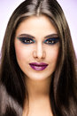 Beautiful brunette girl with luxury makeup Stock Photography