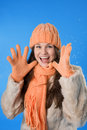 Beautiful brunette girl in the orange cap Stock Photography