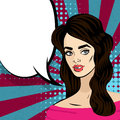 Beautiful brunette girl pop art vintage
