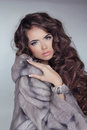 Beautiful brunette girl wearing in mink fur coat with long hair styling isolated on grey background fashion winter woman model Stock Images