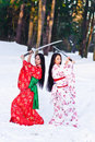 Beautiful brunette girls in a japanese kimono Royalty Free Stock Photography