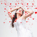 Beautiful brunette and hearts Stock Photography