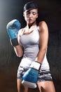 Beautiful brunette lady boxing Royalty Free Stock Photo