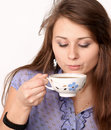 Beautiful brunette lady drinking coffee Stock Photo