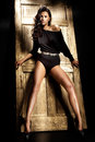 Beautiful brunette with long tanned legs looking at camera Royalty Free Stock Photo