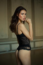 Beautiful brunette model in expensive lace lingerie Royalty Free Stock Photo
