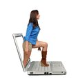 Beautiful Brunette Steps Out of a Laptop Stock Images