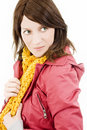 Beautiful brunette wearing a jacket Stock Photography