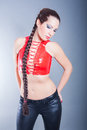 Beautiful brunette wearing leather outfit portrait of Royalty Free Stock Photos