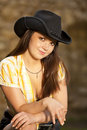 Beautiful brunette woman with cowboy hat Stock Photos
