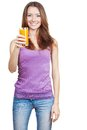 Beautiful brunette woman holding glass of juice healthy lifestyle Royalty Free Stock Photography