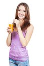 Beautiful brunette woman holding glass of juice healthy lifestyle Stock Photos