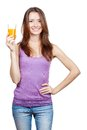 Beautiful brunette woman holding glass of juice healthy lifestyle Royalty Free Stock Images