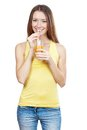 Beautiful brunette woman holding glass of juice healthy lifestyle Stock Image