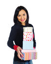 Beautiful brunette woman holding present boxes Stock Photo