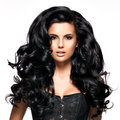 Beautiful brunette woman with long black hair young curly posing at studio Royalty Free Stock Photos