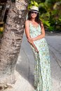 Beautiful brunette woman in long dress and hat near palmtree this image has attached release Stock Photography
