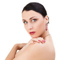 Beautiful Brunette Woman looking over her shoulder Royalty Free Stock Photo