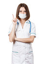 Beautiful brunette woman medical worker young nurse isolated on white background wearing protectivce mask gauze bandage Royalty Free Stock Image