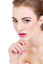 Beautiful brunette woman with pink lips Stock Images