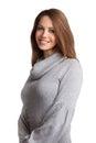 Beautiful brunette in a wool sweater