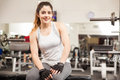 Beautiful brunette working out at the gym Royalty Free Stock Photo