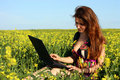 Beautiful brunette in a yellow meadow with laptop Royalty Free Stock Images