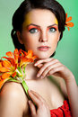 Beautiful brunnette with fantasy make up portrait of a Stock Image