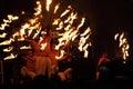 Beautiful burning torches setting Royalty Free Stock Photo