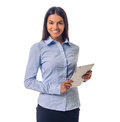 Beautiful business lady with gadget Royalty Free Stock Photo