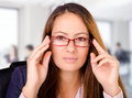 Beautiful business woman with glasses Royalty Free Stock Photo