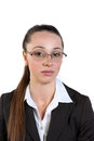 Beautiful business woman in glasses young white background Royalty Free Stock Photo