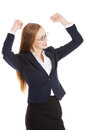 Beautiful business woman with her hands up she s satisfied isolated on white Stock Photography