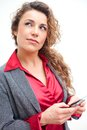 Beautiful business woman holding cellphone text messaging Stock Image