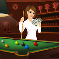 Beautiful business woman holding cue stick and fan of money Royalty Free Stock Photo