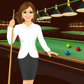 Beautiful business woman holding cue stick