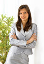 Beautiful business woman holding a portfolio Royalty Free Stock Image