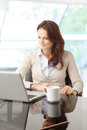 Beautiful business woman with laptop portrait of a sitting in the office Stock Image