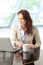 Beautiful business woman with laptop portrait of a sitting in the office Royalty Free Stock Photography