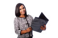 Beautiful business woman with portfolio binder Royalty Free Stock Photo