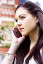 Beautiful Business Woman On Smart Mobile Phone Royalty Free Stock Photo