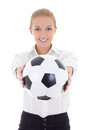 Beautiful business woman with soccer ball isolated on white background Stock Image