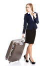 Beautiful business woman with suitcase. Stock Image