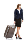 Beautiful business woman with suitcase. Royalty Free Stock Photography