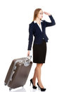 Beautiful business woman with suitcase. Stock Images