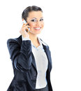 Beautiful business woman talks on the phone isolated a white background Stock Photo
